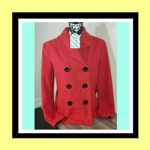 X33: Rampage Cherry Red Military Style Short Coat